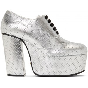 Silver Otis Lace-Up Platform Heels
