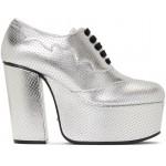 Silver Otis Lace-Up Platform Heels