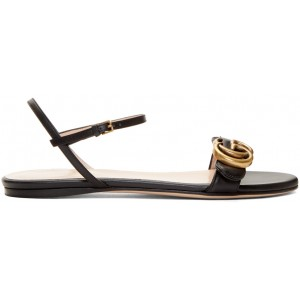 Black Leather GG Sandals