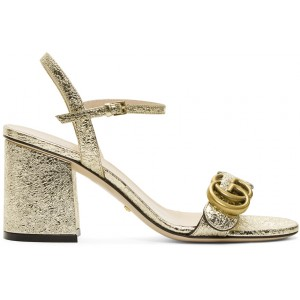 Gold GG Marmont Heeled Sandals