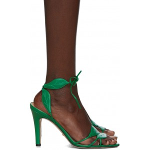 Green Gianta Leave Heeled Sandals