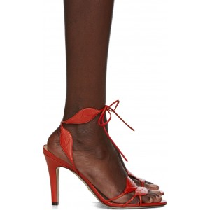 Red Gianta Leave Heeled Sandals