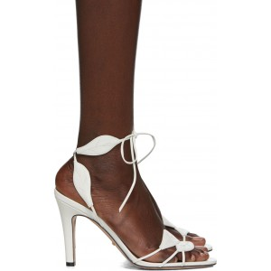 White Gianta Leave Heeled Sandals