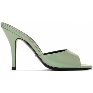 Green Slide Heeled Sandals