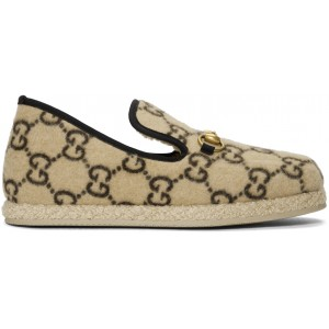 Beige Fria Covered Wool GG Loafers
