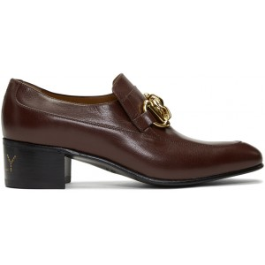 Burgundy Leather Horsebit Chain Loafers