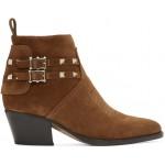 Brown Valentino Garavani Suede Rockstud Cowboy Boots