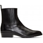 Black Hard Leather Chelsea Boots