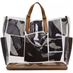Transparent & Brown Leather & Fur 'Forever Fendi' Patch Pocket Tote