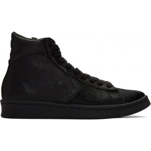 Black Pro Leather Mid Sneakers