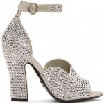 Silver Crystal Embellished Strappy Heeled Sandals