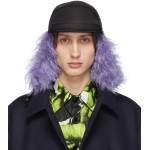 Black & Purple Fur Flap Iris Cap