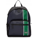 Navy & Green Leather Backpack