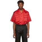 Red Nylon Gabardine Pocket Shirt