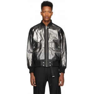 Black Leather L-Steward-Foil Jacket