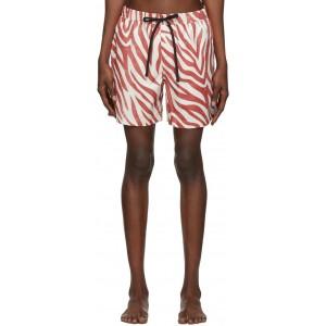 Red & White Pool Shark Swim Shorts