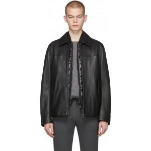 Black Leather Mupton Jacket