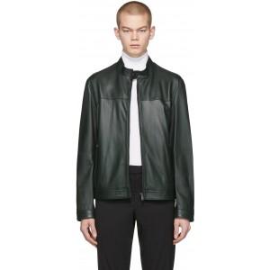 Green Leather Regular Fit Jacket