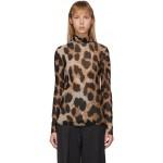 Brown & Beige Mesh Leopard Turtleneck