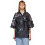 Black Organza Oversized Patch Shirt
