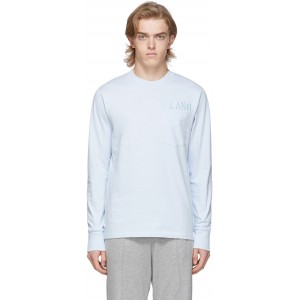 Blue Raised Embroidery Long Sleeve T-Shirt