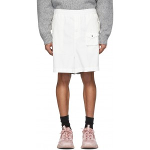 2 Moncler 1952 White & Silver Over-The-Knee Bermuda Shorts