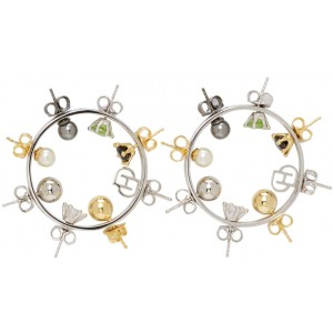 Silver Wheel Hoop Earrings