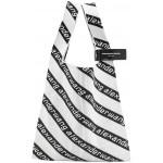 White & Black Large Jacquard Logo Shopper Tote