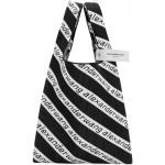 Black & White Large Jacquard Logo Shopper Tote