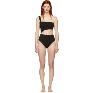 Black Crepe Iu One-Piece Swimsuit