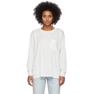 White Tilted Pocket Long Sleeve T-Shirt
