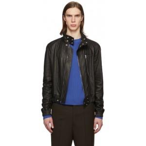 Black Leather IES Bomber Jacket