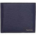 Navy Straw Grain Bifold Wallet