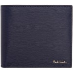 Navy Straw Grained Coin Bifold Wallet