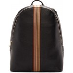 Black Leather Signature Stripe Backpack