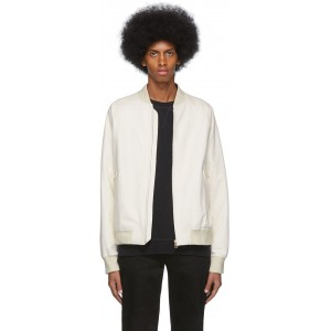 White Leather Raglan Bomber Jacket