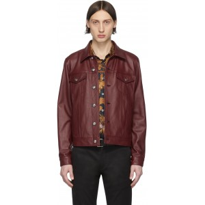 Red Leather Trucker Jacket