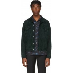 Green Suede Trucker Jacket