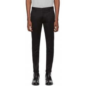 Black Cotton Stretch Chino Trousers