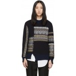 Navy Merino Series Patchwork Holiday Sweater