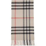 Beige Cashmere Giant Check Scarf