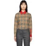 Beige Vintage Check Contrast Trim Carlota Shirt