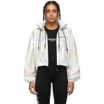 White Iridescent Cropped Windbreaker Jacket