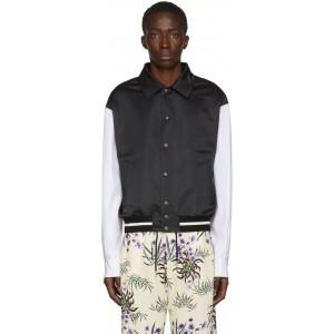 Black & White Varsity Blouson Bomber Jacket