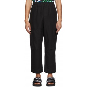 Black Cropped Cargo Pants