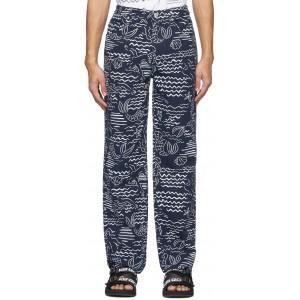 Indigo Linen Wave Mermaid Jeans