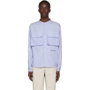 Blue Stand Collar Shirt