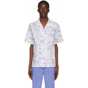 White All Over Print Casual Shirt