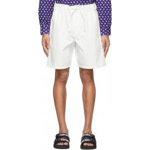 Off-White Gabardine Belted Shorts