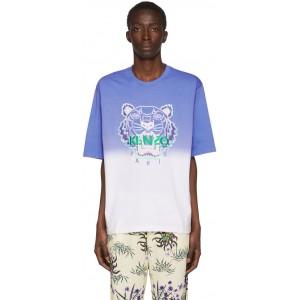 Blue & White 'Dip Dyed Tiger' T-Shirt